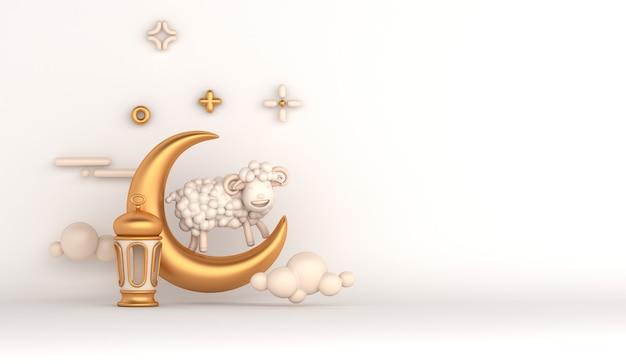 Eid al adha islamitische decoratie achtergrond met geit schapen arabische lantaarn halve maan moskee