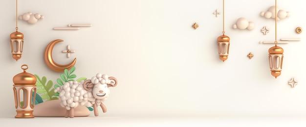 Eid al adha islamitische decoratie achtergrond met geit schapen arabische lantaarn halve maan