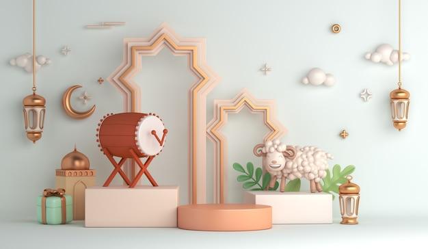 Eid al adha islamitische decoratie display podium achtergrond met schapen wassende bedug drum lantaarn