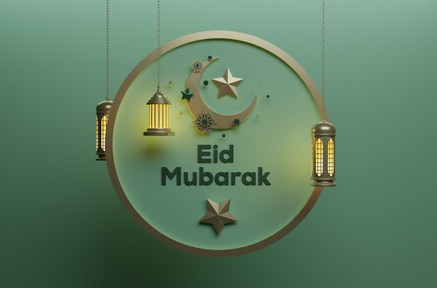 Eid mubarak-feest met hangende ster op maan op mooie achtergrond. traditionele islamitische achtergrond