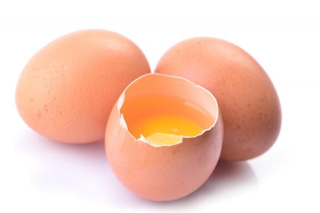 Eieren en dooier geïsoleerd