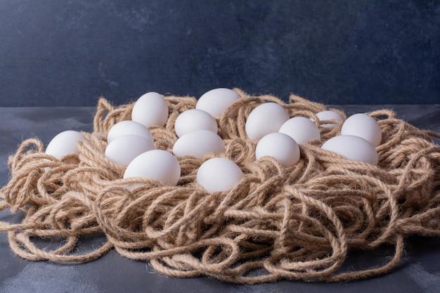 Eieren geïsoleerd op het draadnest.