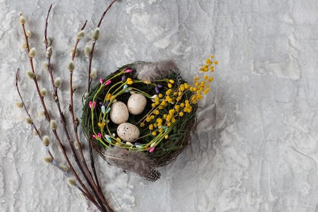 Eieren in een nest, in de buurt van wilg en mimosa - pasen achtergrond. vrije ruimte voor tekst