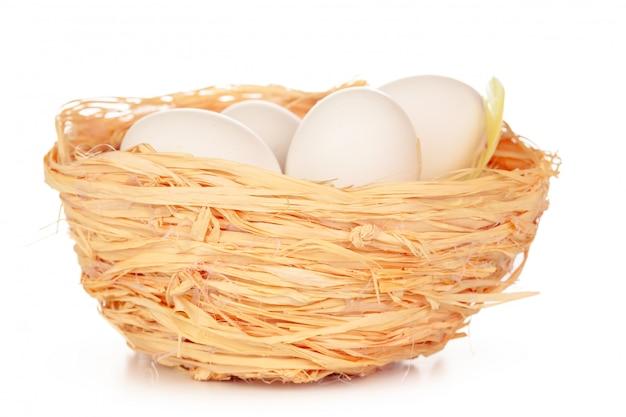 Eieren in een nest op een witte achtergrond