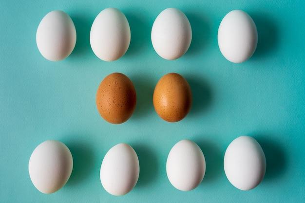 Eierenpatroon over aqua pastel achtergrond.