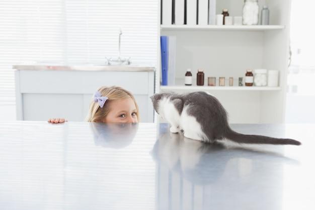 Eigenaar verbergt en aait haar kat