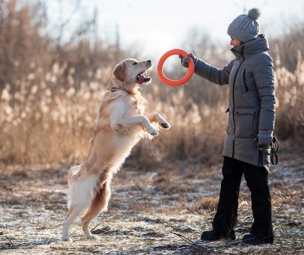 Eigenaresse van de vrouw met jas en hoed die golden retriever-hond traint met oranje speelgoedcirkel in de natuur ...