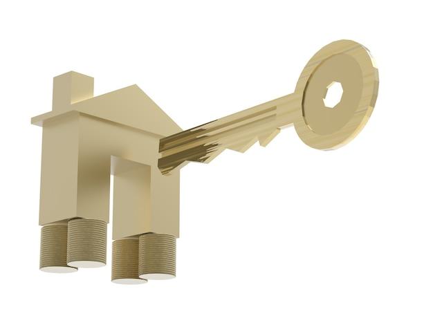 Eigendomsconcept met gouden mock-up huis en gouden sleutel