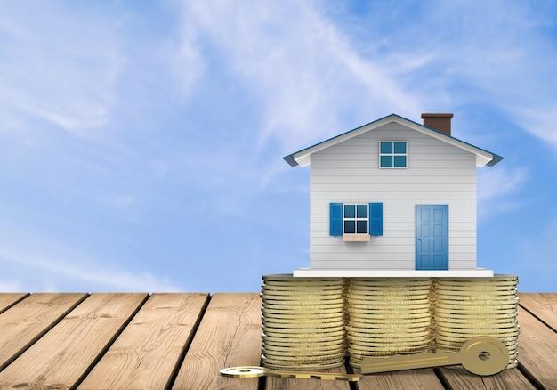 Eigendomsconcept met mock-up huis en gouden sleutels