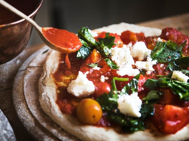 Eigengemaakt het receptidee van de pizzavoedselfotografie