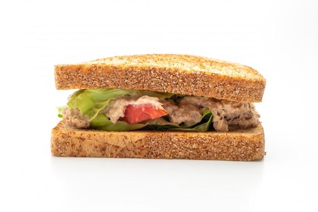 Eigengemaakt tuna sandwich op witte achtergrond