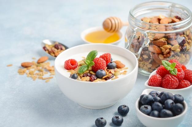 Eigengemaakte granola met yoghurt en verse bessen, gezond ontbijtconcept.