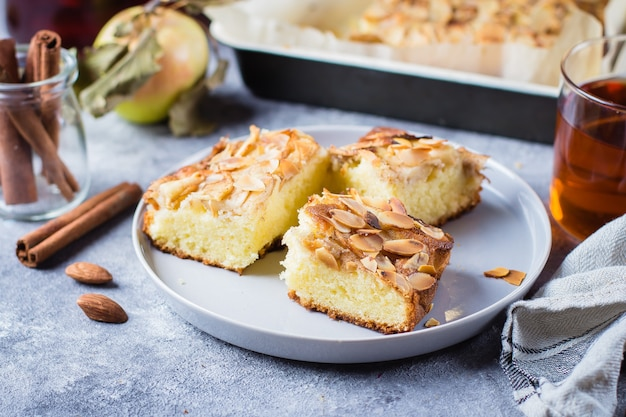 Eigengemaakte pastei met appelen en amandelvlokken. norwegian biscuit pie op stenen tafel achtergrond