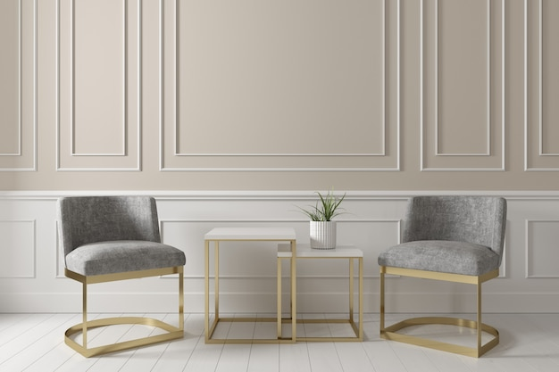 Eigentijds binnenland van het leven beige muur met grijze stoffenleunstoel en zijlijst op witte houten vloer.