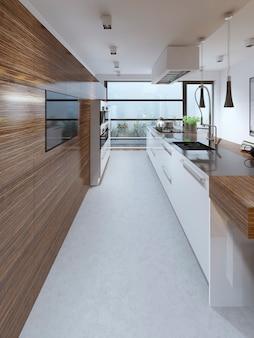 Eigentijds design keukeninterieur met modern meubilair en kookeiland.