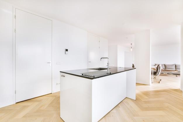 Eigentijds interieur van ruime keuken met aanrechtblad en diverse inbouwapparatuur in nieuwbouw appartement