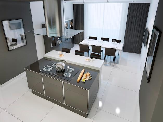 Eigentijds zwart-wit keukenbinnenland met witte vloeren.