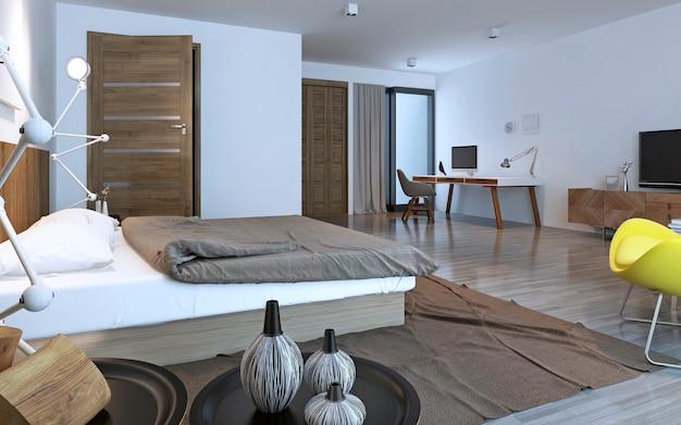 Eigentijdse slaapkamer met bruin meubilair. 3d render