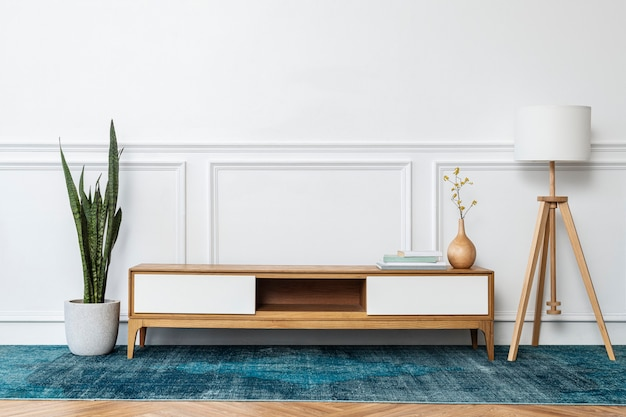 Eigentijdse woonkamer met een blauw tapijt