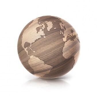 Eiken hout wereldbol 3d illustratie noord- en zuid-amerika kaart op wit geïsoleerd