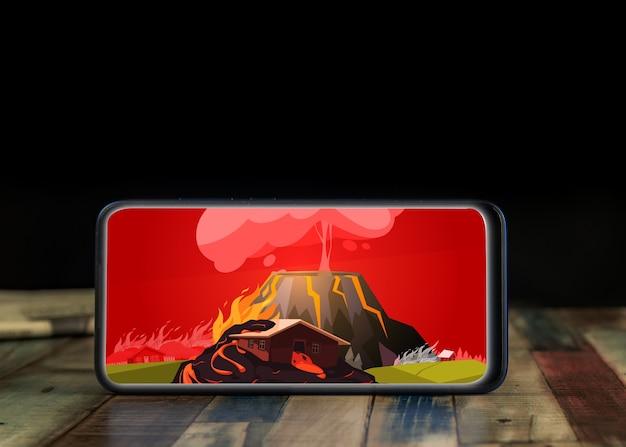Eiland la palma, spanje - 29 september 2021: uitbarstingsvulkaan in la palma, canarische eilanden, spanje. vulkaanuitbarsting nieuws concept. in