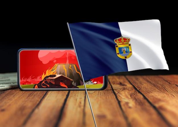 Eiland la palma, spanje - 29 september 2021: uitbarstingsvulkaan in la palma, canarische eilanden, spanje. vulkaanuitbarsting nieuws concept. vlag van het eiland la palma