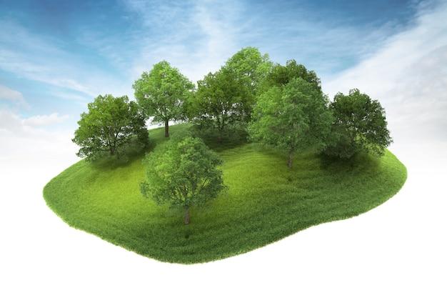 Eiland met bos dat in de lucht zweeft