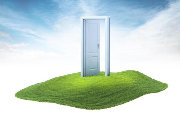 Eiland met geopende deur zwevend in de lucht op de hemelachtergrond