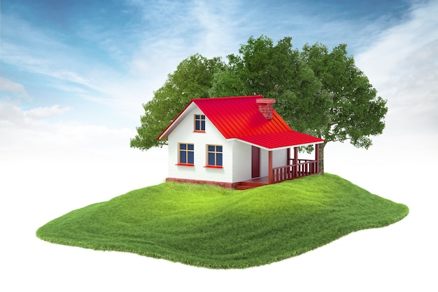Eiland met huis en bomen die in de lucht op hemelachtergrond drijven