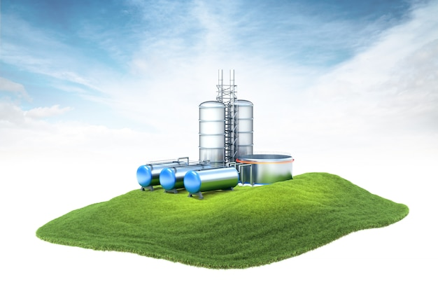 Eiland met oliefabriek met in de lucht zwevende opslag