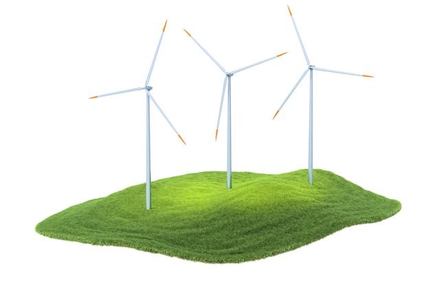 Eiland met windturbines zwevend in de lucht op de hemelachtergrond