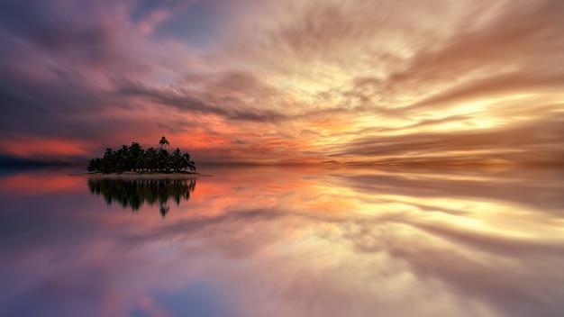 Eiland tijdens zonsondergang