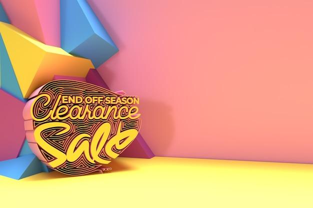 Einde seizoen uitverkoop banner brief, woorden over korting en prijzen 3d rendring afbeelding ontwerp.