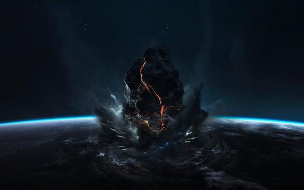 Einde van de aarde. apocalyps, asteroïde explodeert de planeet. meteoriet douche. elementen van deze afbeelding geleverd door nasa