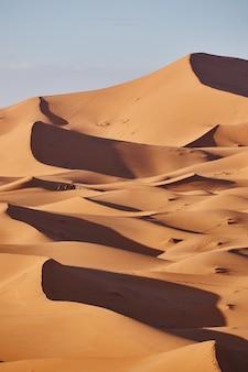Eindeloos zand van de sahara-woestijn. prachtige zonsondergang over zandduinen van de sahara, marokko, afrika