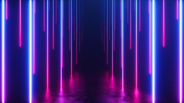 Eindeloze gang met neonlijnen die naar beneden neigen