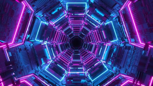 Eindeloze gang van de toekomst. ruimteschip. neon verlichting. vliegen in de tunnel. 3d-afbeelding