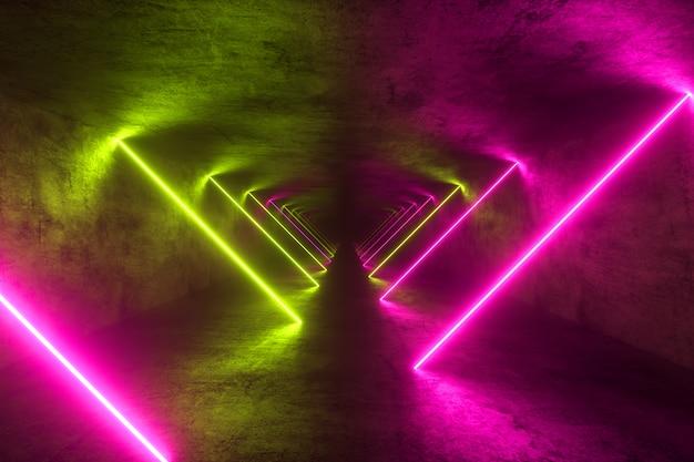 Eindeloze metalen tunnel met neonlichten