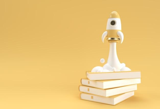 Elearning-ideeboek en raketconcept van onderwijs en zoeken naar kennis 3d-rendering.