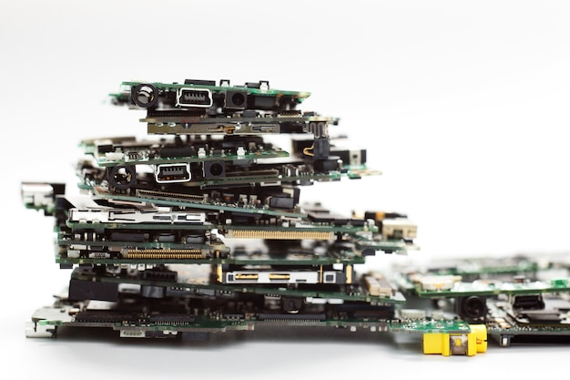 Electronic waste, semiconductor in printed circuit board.