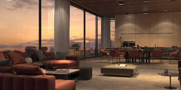 Elegant en luxe met nachtverlichting open woonkamer, keuken en eetkamer, marmeren eiland, stenen vloer, beige muren, houten plafond. ramen met uitzicht op de zonsondergang. 3d-rendering illustratie interieur