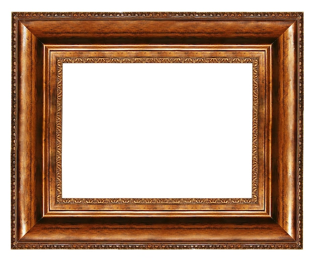 Elegant leeg frame met houten randen geïsoleerd op wit