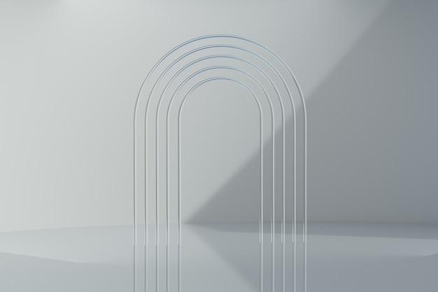 Elegante 3d-weergave van de abstracte vorm van de scènegeometrie met bogen