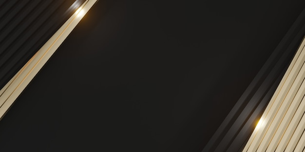 Elegante achtergrond zwart spul en glinsterende goudstaven 3d illustratie