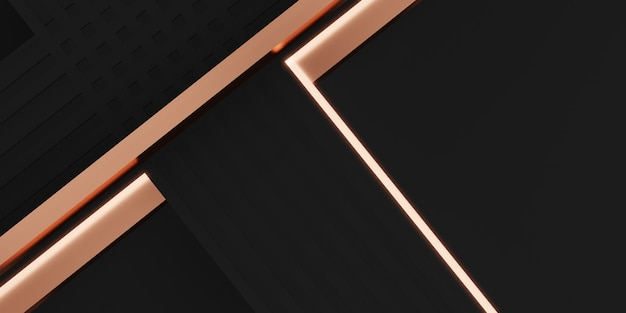 Elegante achtergrondafbeelding als achtergrond van zwarte en roze goudstaven die glinsteren in 3d-afbeelding
