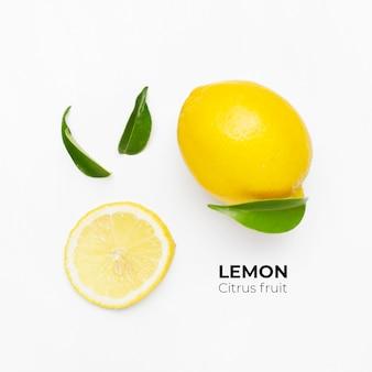 Elegante compositie van set citroenen op een wit oppervlak