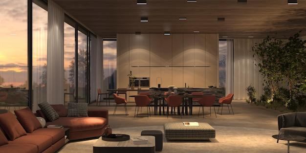 Elegante en luxe lichte open woonkamer, keuken en eetkamer met heldere nachtverlichting, stenen vloer, beige muren, houten plafond. ramen met uitzicht op de zonsondergang. 3d render illustratie interieur.