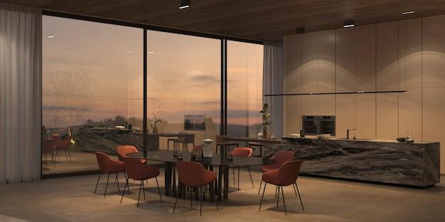 Elegante en luxe open keuken en eetkamer met heldere nachtverlichting, stenen vloer, witte muren, houten plafond. ramen met uitzicht op de zonsondergang. 3d-rendering illustratie interieur appartement.