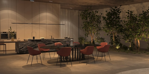 Elegante en luxe open keuken en eetkamer met nachtverlichting, groene planten - bomen, stenen vloer, houten plafond. 3d-rendering illustratie interieur appartement met eiland, tafel en stoelen.