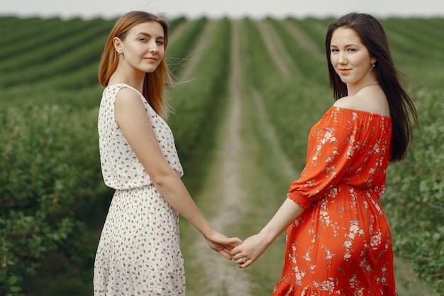Elegante en stijlvolle meisjes in een zomer veld